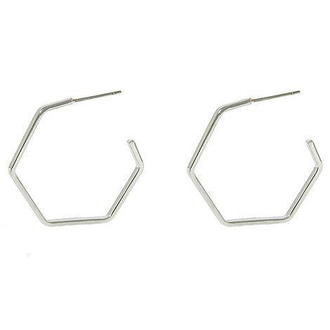 Finesse - Rhodium hexagonal hoop earrings