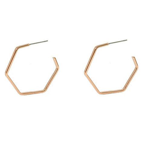 Finesse - Rose gold hexagonal hoop earrings