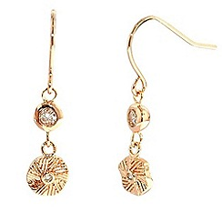 Finesse - Rose gold textured coin drop earrings