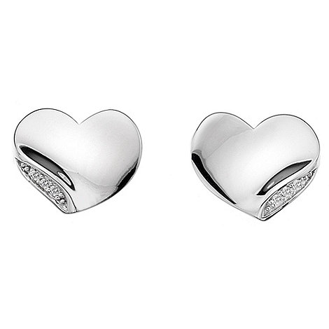Hot Diamonds - Simply sparkle solid heart stud earrings