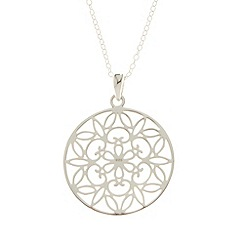 Van Peterson 925 - Sterling silver flower disc pendant necklace