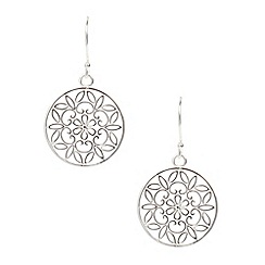 Van Peterson 925 - Designer Sterling silver flower disc drop earrings