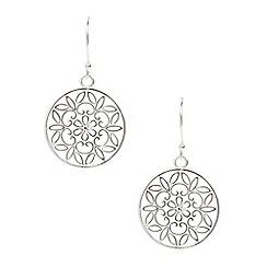Van Peterson 925 - Designer Sterling silver flower disc drop earrings