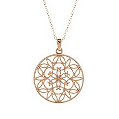 Van Peterson 925 - Designer rose gold vermeil flower disc pendant necklace