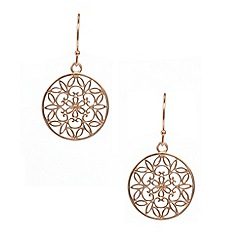 Van Peterson 925 - Designer rose gold vermeil flower disc drop earrings