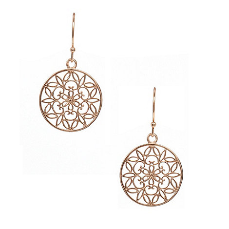Van Peterson 925 - Rose gold vermeil flower disc drop earrings