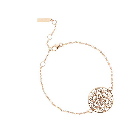 Van Peterson 925 - Designer rose gold vermeil flower disc bracelet