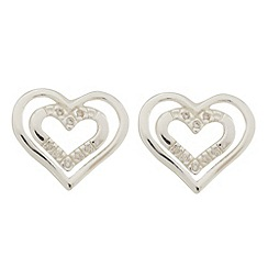 Van Peterson 925 - Sterling silver heart outline cubic zirconia stud earrings