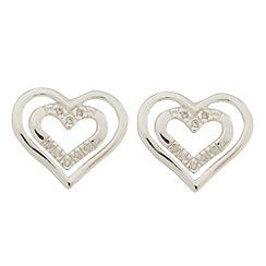 Van Peterson 925 - Sterling silver heart outline cubic zirconia stud earrings