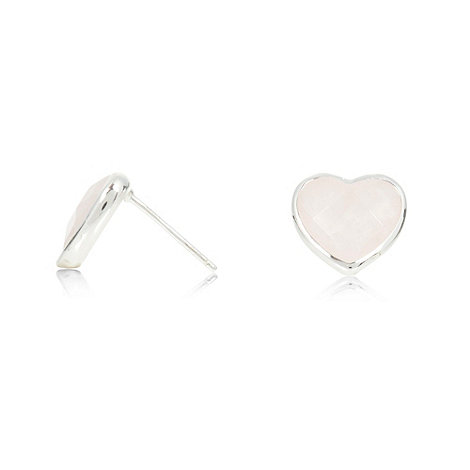 Van Peterson 925 - Sterling silver rose quartz heart earrings