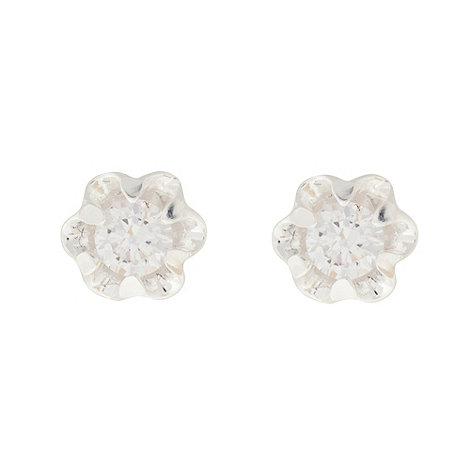 Van Peterson 925 - Sterling silver flower cubic zirconia stud earrings