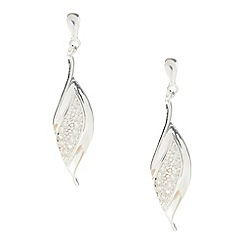 Van Peterson 925 - Designer sterling silver pave leaf drop earrings