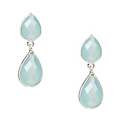 Van Peterson 925 - Designer aqua pear sterling silver drop earrings