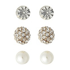 The Collection - Set of three silver diamante and pearly stud earrings