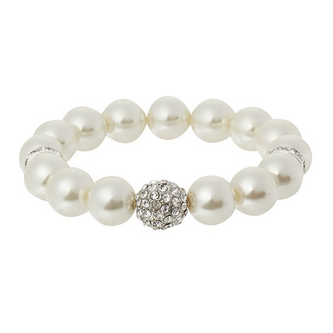 The Collection - Cream pearly bead and fireball stretch bracelet