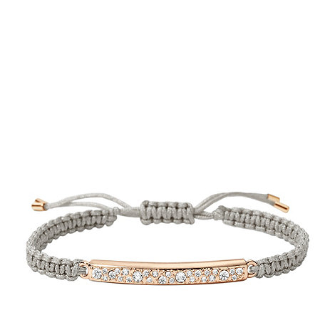 Fossil - Grey macrame bracelet with rose-tone plated bar