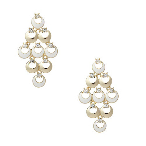 The Collection - Cream enamel link chandelier earrings
