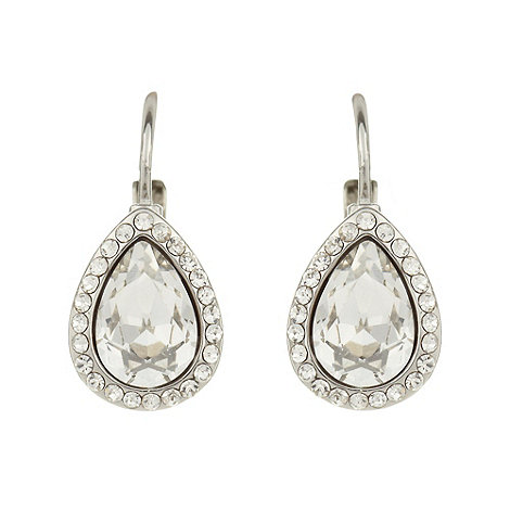 No. 1 Jenny Packham - Designer silver pave diamante pear drop earrings