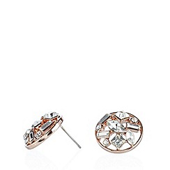 No. 1 Jenny Packham - Designer rose gold mixed faceted gem cluster stud earrings