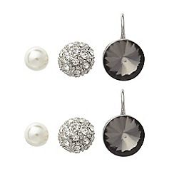 No. 1 Jenny Packham - Set of three designer silver stone and pearly bead stud earrings
