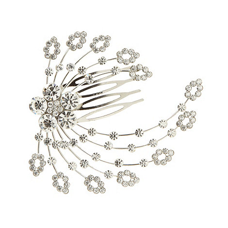 No. 1 Jenny Packham - Designer silver diamante feather design comb clip
