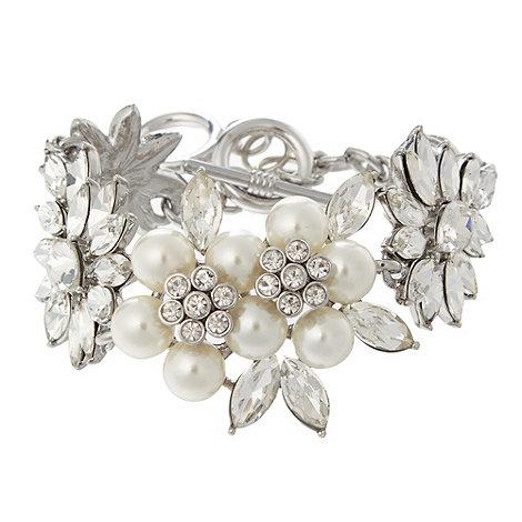 No. 1 Jenny Packham - Designer silver and pearl floral bracelet