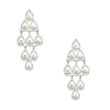 No. 1 Jenny Packham - Designer silver diamante chandelier drop earrings