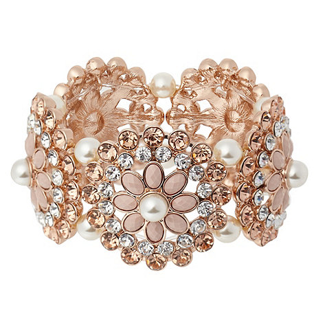 No. 1 Jenny Packham - Designer rose diamante and bead flower bracelet