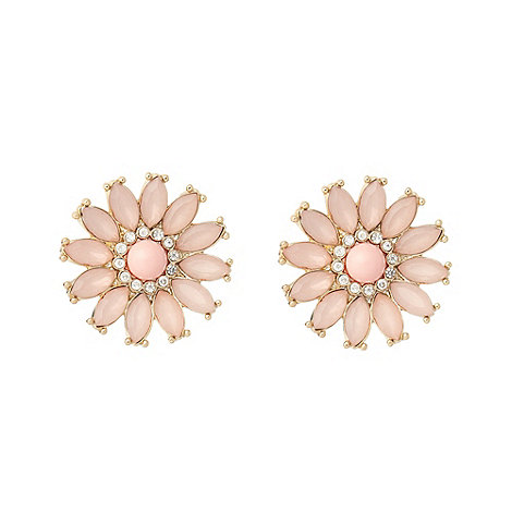 Floozie by Frost French - Pink navette flower gem earrings