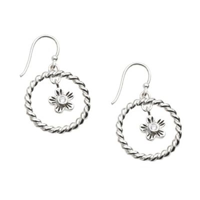 Sterling silver hoop and flower earrings