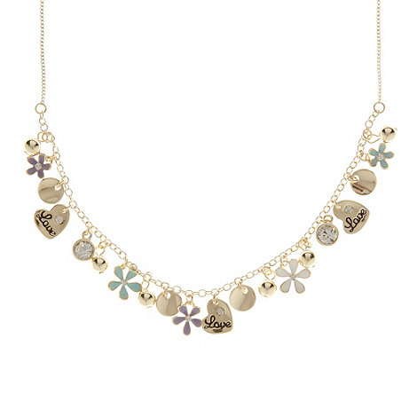 Floozie by Frost French - Gold diamante charm necklace