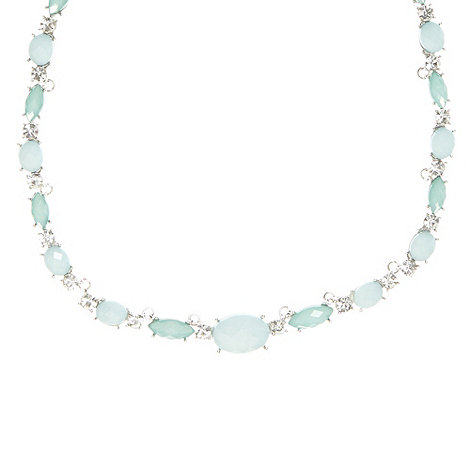 The Collection - Pale green and blue stone set necklace