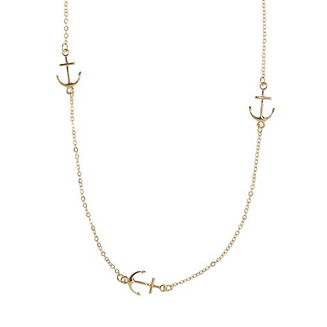 Floozie by Frost French - Gold curb chain anchor charm necklace