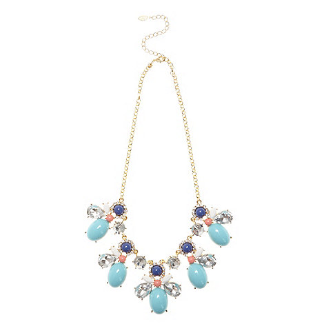 Floozie by Frost French - Gold cluster gem necklace