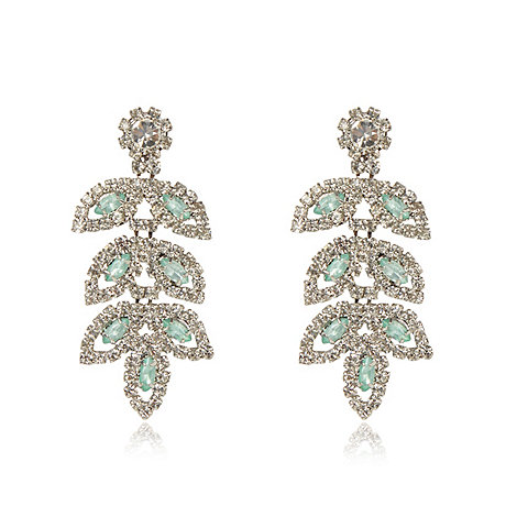 No. 1 Jenny Packham - Designer pale green teardrop leaf earrings