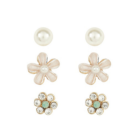 Floozie by Frost French - Set of three gold flower bead stud earrings