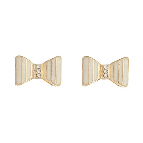 Floozie by Frost French - Cream enamelled bow earrings