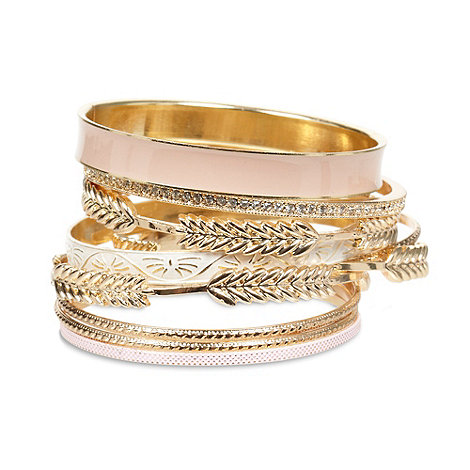 Call It Spring - Gold +Cadowia+ leaf enamel stacking bracelets