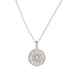 Van Peterson 925 - Designer sterling silver pave cubic zirconia disc necklace