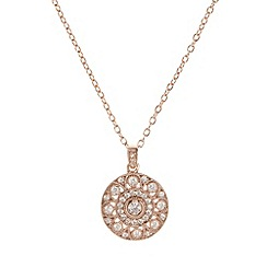 Van Peterson 925 - Designer rose gold vermeil pave cubic zirconia disc necklace
