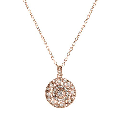 Van Peterson 925 - Rose gold vermeil and cubic zirconia disc necklace