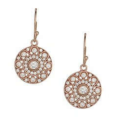 Van Peterson 925 - Designer rose gold sterling silver vermeil cubic zirconia disc earrings