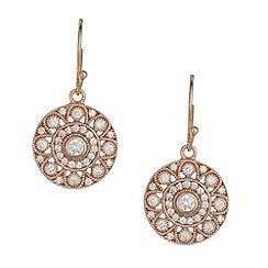 Van Peterson 925 - Designer rose gold sterling silver vermeil cubic zirconia disc earrings