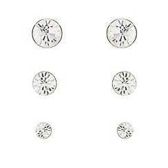 Pilgrim - Pack of three silver diamante stud earrings