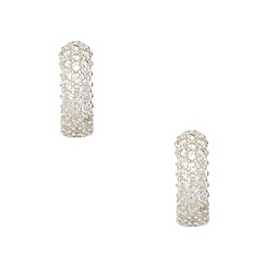 Van Peterson 925 - Silver pave half hoop earrings