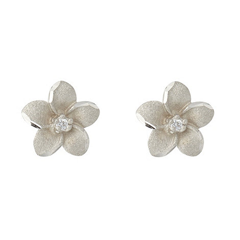 Van Peterson 925 - Silver sandblast flower earrings