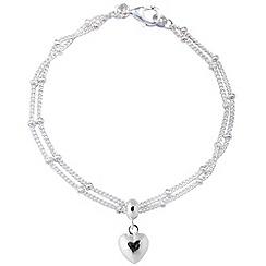 Jolie - Silver plated heart chain bracelet