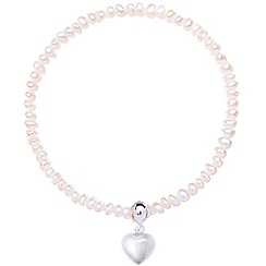 Jolie - White pearl bracelet with silver heart