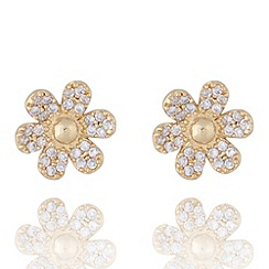 Jolie - Pave flower stud earrings