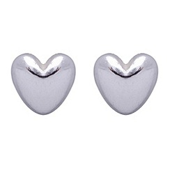 Jolie - Silver plated heart stud earrings